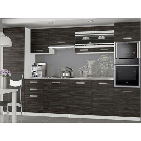 KNOX | Cuisine Complète Modulaire + Linéaire L 300cm 8 pcs | Plan de travail INCLUS | Ensemble armoires meubles cuisine | Ébène - Ébène