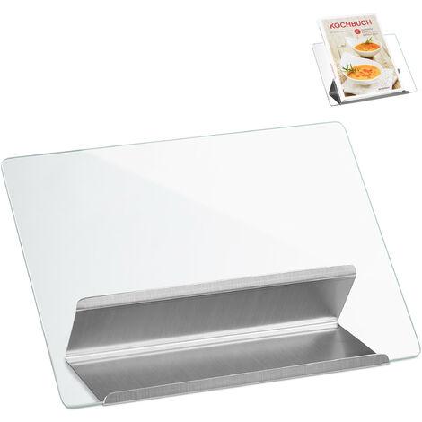 Kochbuchhalter aus Edelstahl und Glas, Leseständer für Rezepte, Kochbuchständer Metall HxB 22 x 29 cm, silber