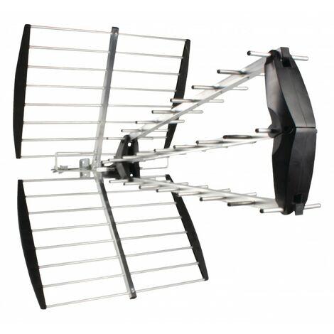 KÖNIG Antenne rateau UHF extérieure 15dB DVB-T/T2 Filtre LTE sur toit maison - Noir