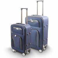 Kofferset 2-teilig M + L Reisekoffer Trolley Stoffkoffer Softcase Teleskopgriff Modell Traveler Line (Blau)