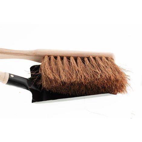 Kohlenschaufel mit Handfeger aus Cocos, Kehrschaufel, Kehrgarnitur, Kehrblech Metall / Holz