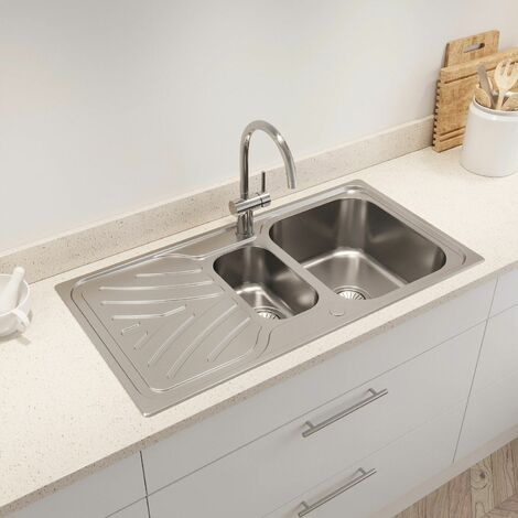 Kohler Ease Inset Stainless Steel Kitchen Sink 1.5 Bowl Waste 950 x 500 mm