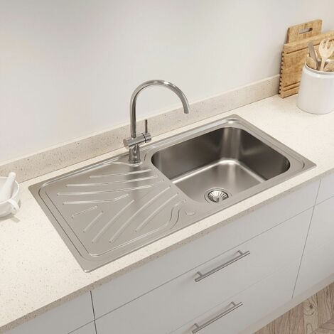Kohler Ease Inset Stainless Steel Kitchen Sink Single Bowl Waste 1000 x 500mm