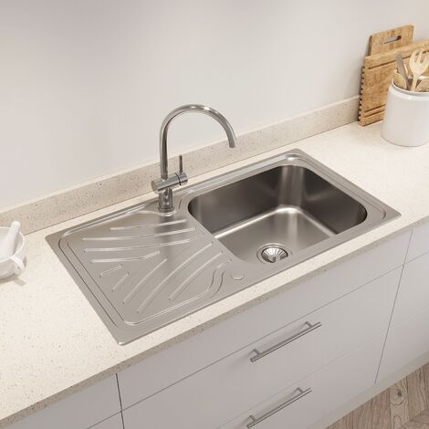 Kohler Ease Inset Stainless Steel Kitchen Sink Single Bowl Waste 950 x 500mm