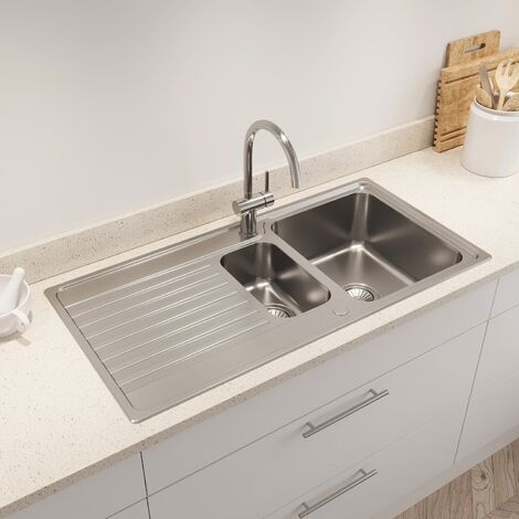 Kohler Hone Inset Stainless Steel Kitchen Sink 1.5 Bowl Waste 1000 x 500mm