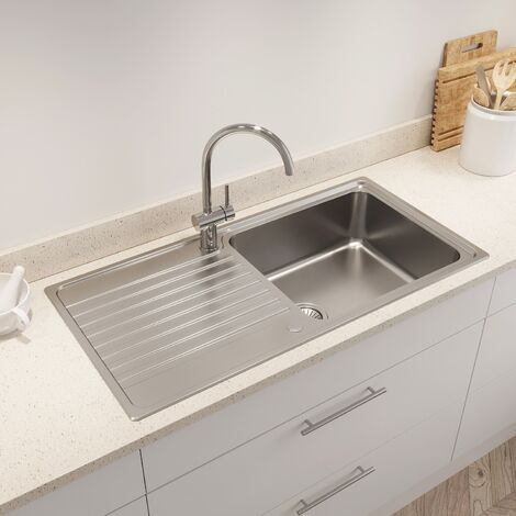 Kohler Hone Inset Stainless Steel Kitchen Sink Single Bowl Waste 1000 x 500mm