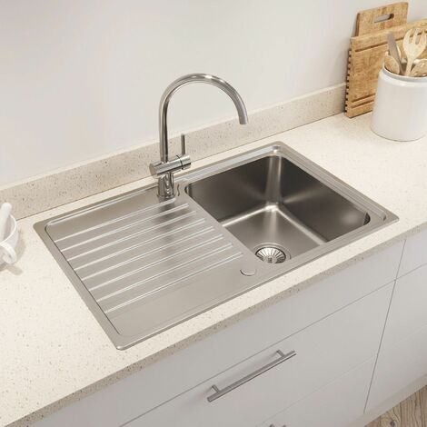 Kohler Hone Inset Stainless Steel Kitchen Sink Single Bowl Waste 800 x 500mm