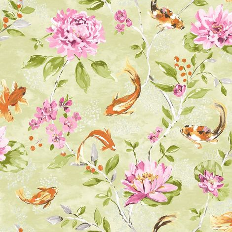 Koi Carp Water Lilies Floral Wallpaper Lime Pink Fish Paste Wall Holden Decor