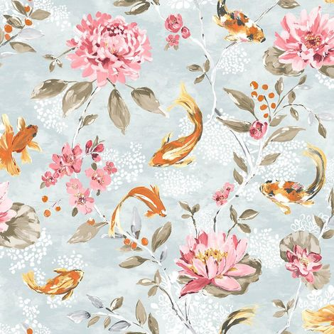 Koi Carp Water Lilies Floral Wallpaper Teal Coral Fish Paste Wall Holden Decor