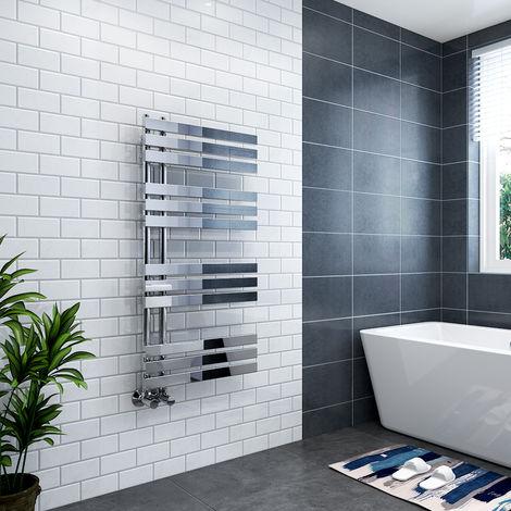 Koli 1200 x 600mm Chrome Flat Designer Heated Bathroom Toilet Towel Rail Radiator