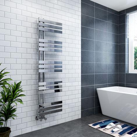 Koli 1600 x 450mm Chrome Flat Designer Heated Bathroom Toilet Towel Rail Radiator