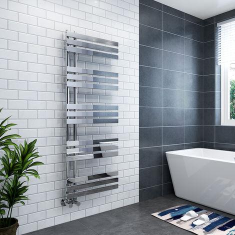 Koli 1600 x 600mm Chrome Flat Designer Heated Bathroom Toilet Towel Rail Radiator