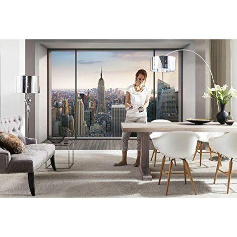 Komar xxl4-916368x 248cm ``Penthouse Sticker trompe l oeil Papier peint`` New York City Skyline Cityscape-Pastel Lot de 4