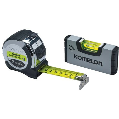 Komelon PowerBlade II Pocket Tape 5m (Width 27mm) (Metric only) with Mini Level