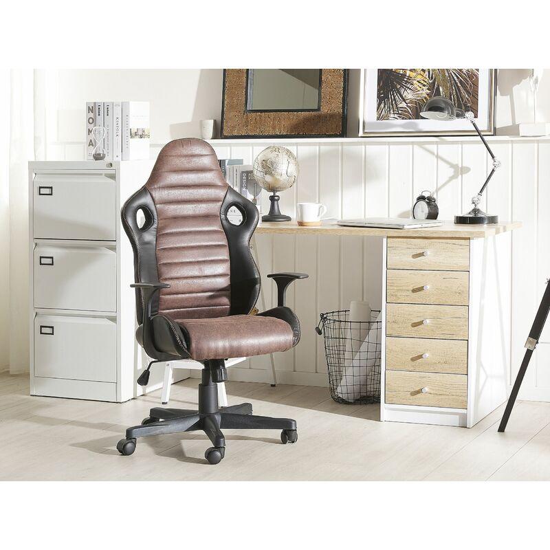 Komfortabler Bürostuhl Wippmechanik höhenverstellbar schwarz//braun Deluxe