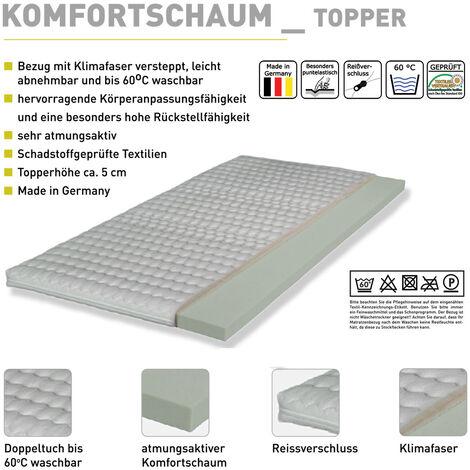 Komfortschaum-Topper-75 weiß für Liegefläche 90/120/140/160/180 x 200 cm