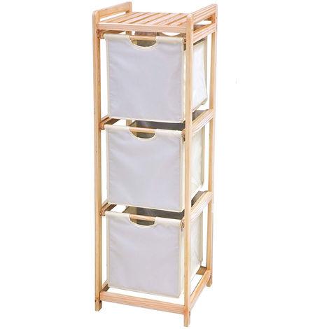 Kommode aus Holz 3 Schubladen in Ecru-Stoff Wohnkultur Badezimmer C1513005