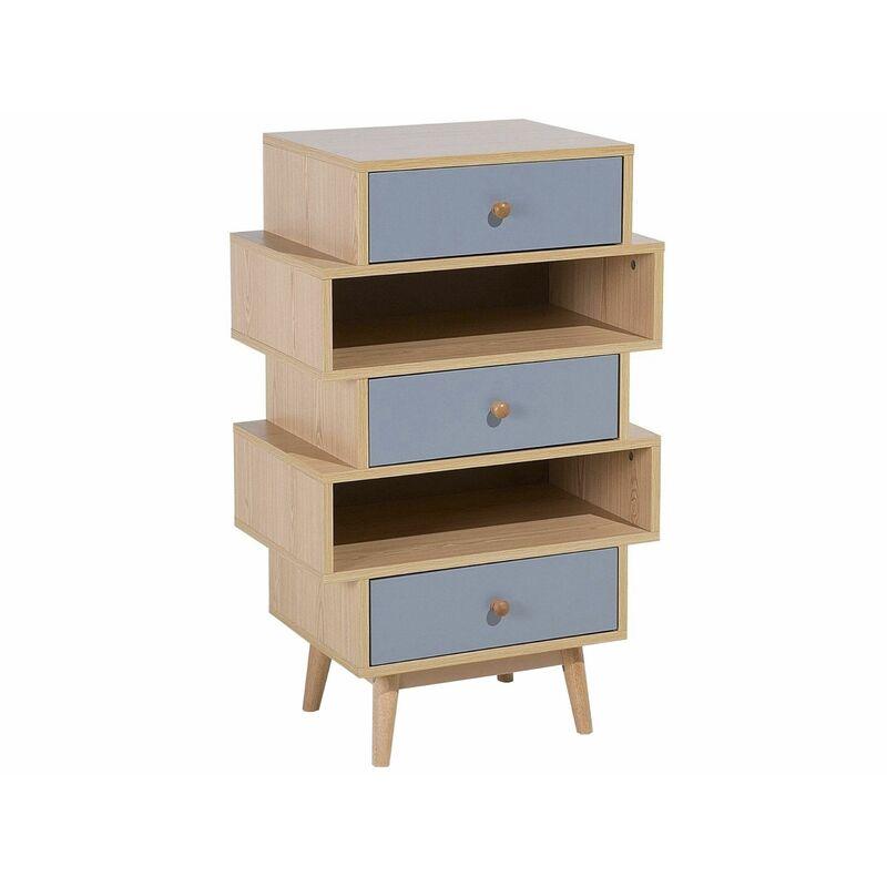 Kommode Heller Holzfarbton Grau Spanplatte MDF Platte Minimalistisch Lustige Form Trendy Farbpalette Wohnzimmer