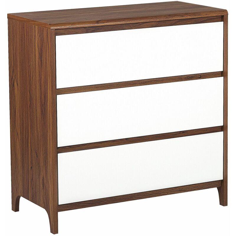 Kommode Sideboard dunkler Holzfarbton/weiß MDF-Platte 81 x 80 cm Retro Modern Trendy