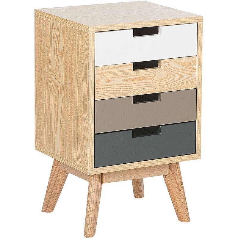 Kommode mehrfarbig/heller Holzfarbton MDF Platte Eichenholz 66 x 40 x 36 cm Modern Skandinavischer Stil Geräumige Schubladen Wohnzimmer
