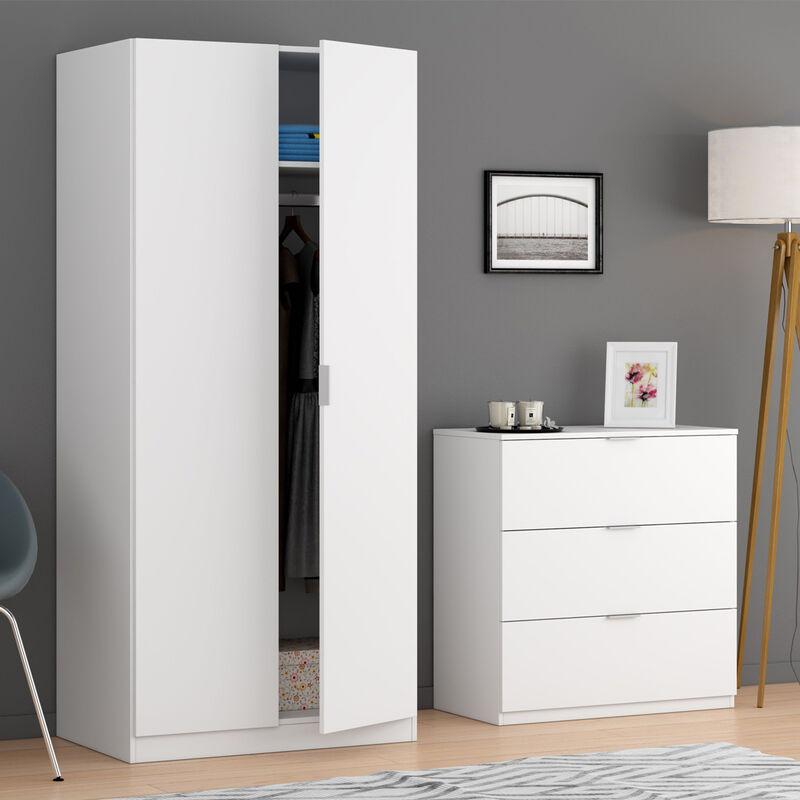Dmora - Kommode mit drei Schubladen, Farbe Weiß, 77 x 80 x 38 cm.
