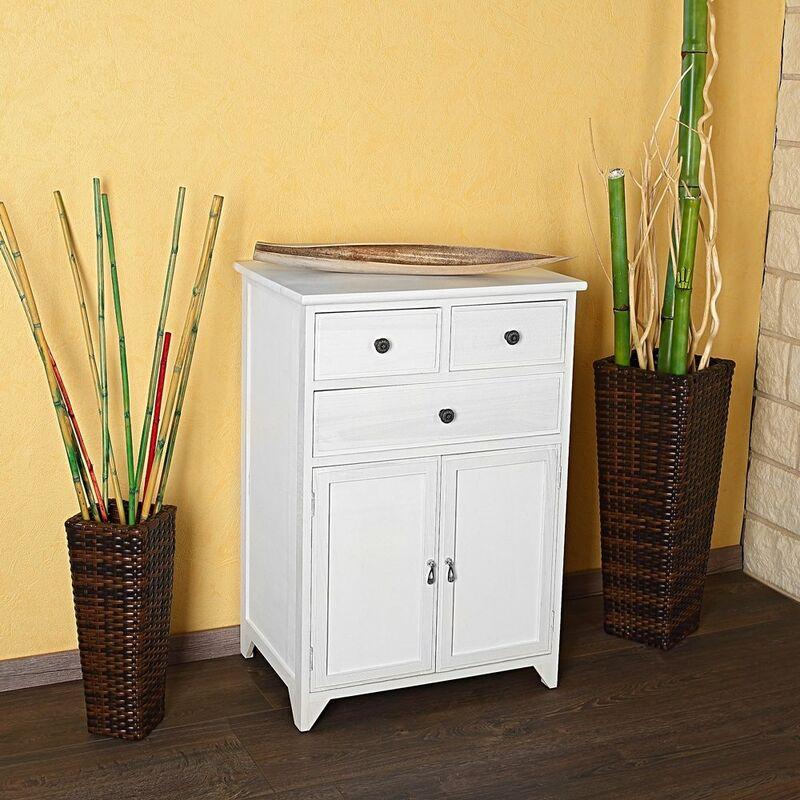 Kommode Schrank Regal Sideboard Badschrank Shabby Chic weiß Holz Beistellschrank - MUCOLA