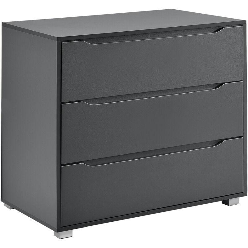 Kommode Sideboard mit 3 Schubladen 77,5x80x48cm Wohnzimmerschrank dunkelgrau - [EN.CASA]