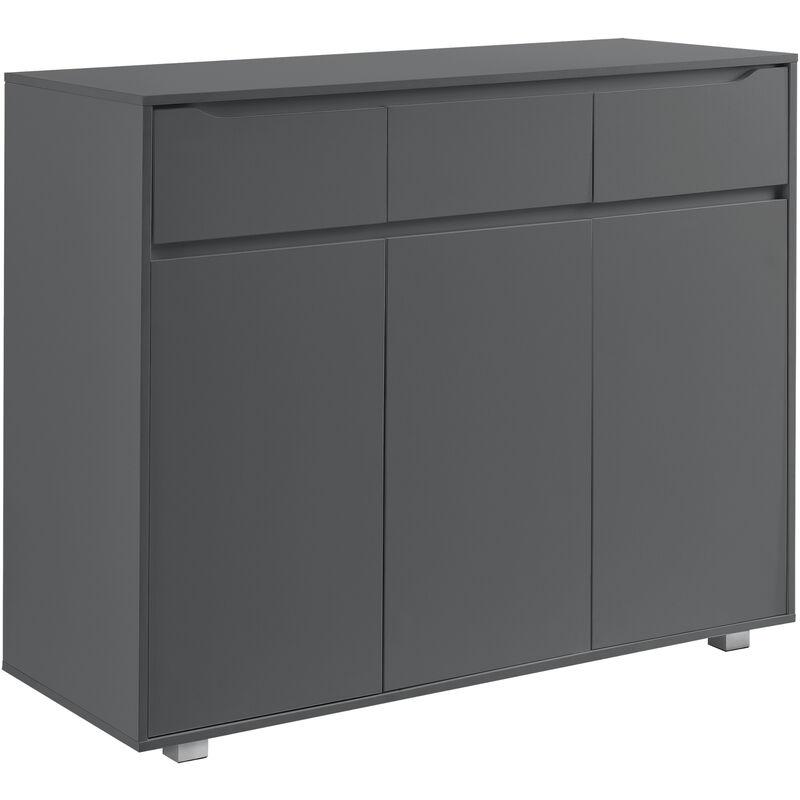 Kommode Sideboard mit 3 Schubladen und 3 Schranktüren 101,5 x 120 x 48 cm Wohnzimmerschrank dunkelgrau - [EN.CASA]