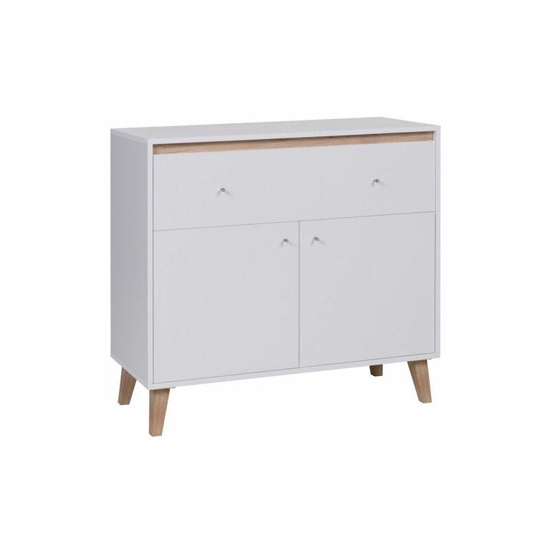Kommode Sideboard Schrank KALMAR 100x90,5x40 cm in Weiss matt - FUN MOEBEL