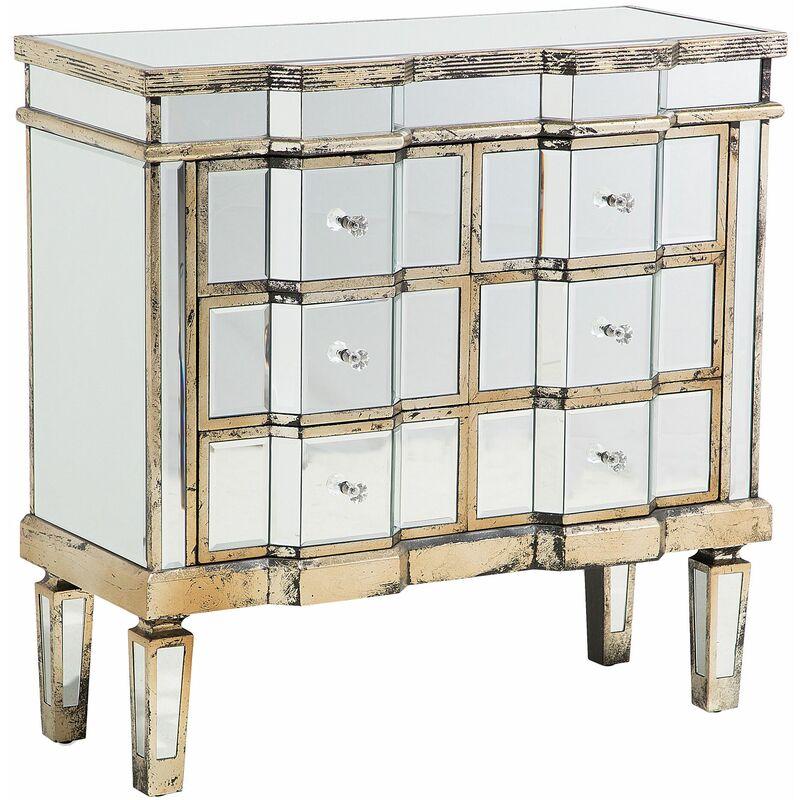 Beliani - Kommode Silber Gold Glas MDF Platte Massivholz 80 x 81 x 33 cm Glamourös Präzise Details Wohnzimmer