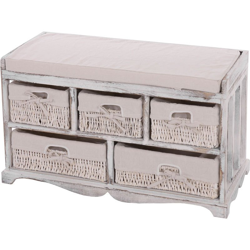 Kommode und Sitzbank mit 5 Schubladen, 45x77x36cm, Shabby-Look, Shabby-Chic, Vintage ~ weiß - HHG