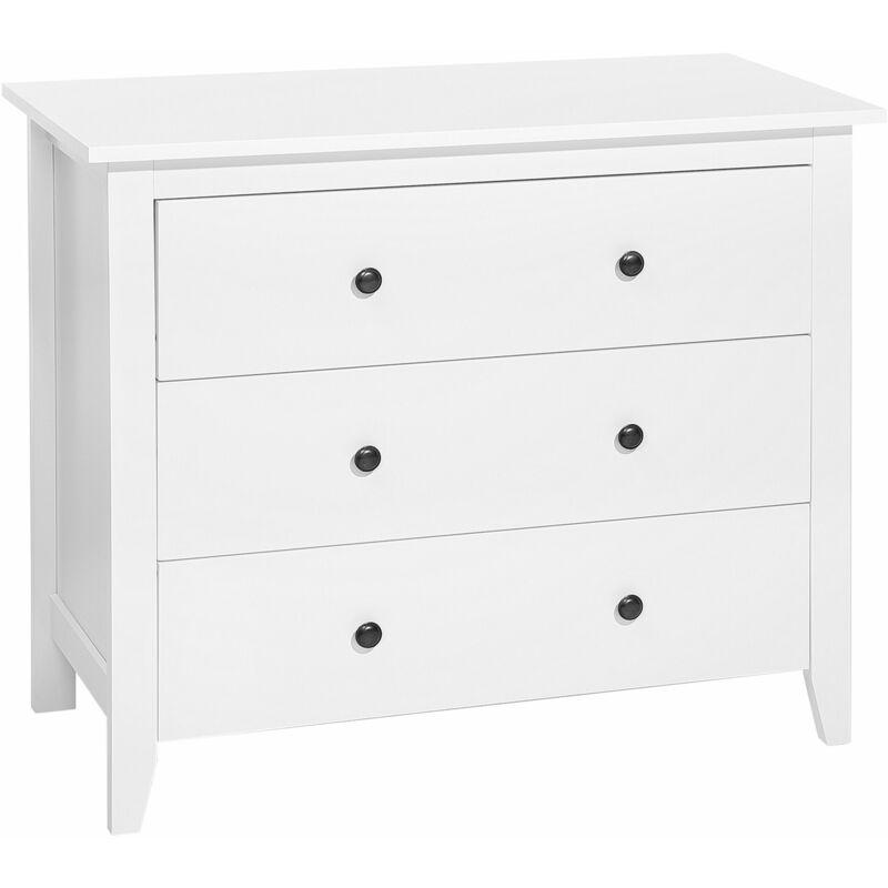 Kommode Weiß MDF Platte Holz 80 x 96 x 45 cm Minimalistisch Geräumige Schubladen Wohnzimmer