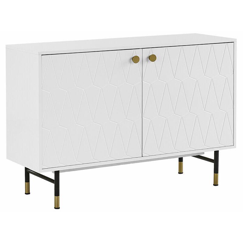 Beliani - Kommode weiß MDF Platte Spanplatte Metall 82 x 120 x 40 cm Modern Mit Muster Stabiles Gestell Klein Und Kompakt Praktisch Wohnzimmer
