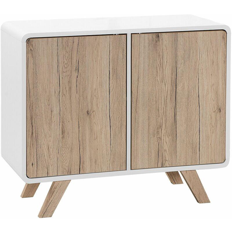 Kommode weiß/heller Holzfarbton MDF Platte Kiefernholz 76 x 90 x 40 cm Modern Skandinavisches Design Viel Stauraum Wohnzimmer - BELIANI