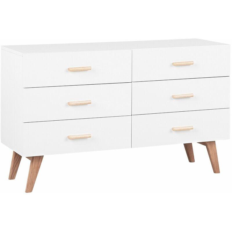 Kommode weiß MDF Platte Eichenholz 75 x 120 x 42 cm Retro Minimalistisch Funktional Praktisch Dekorativ Wohnzimmer - BELIANI
