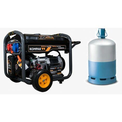 KOMPAK 10kVA Groupe électrogène GAZ/essence mono et triphasé démarreur élec FULL POWER K10000TET-DF - noir