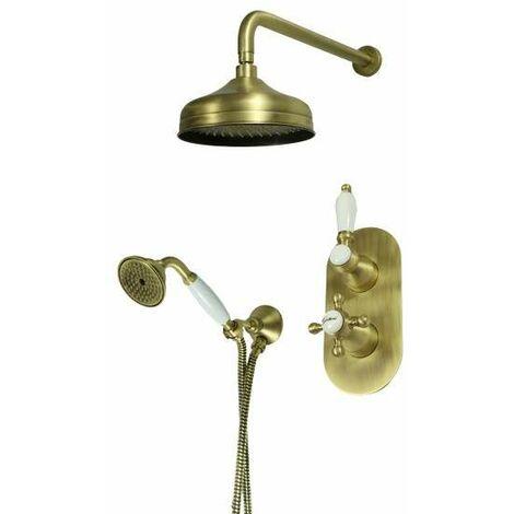 Komplettes Duschset in Bronze mit Thermostatmischer Gattoni Orta KT105/27VB.OLD   Bronze