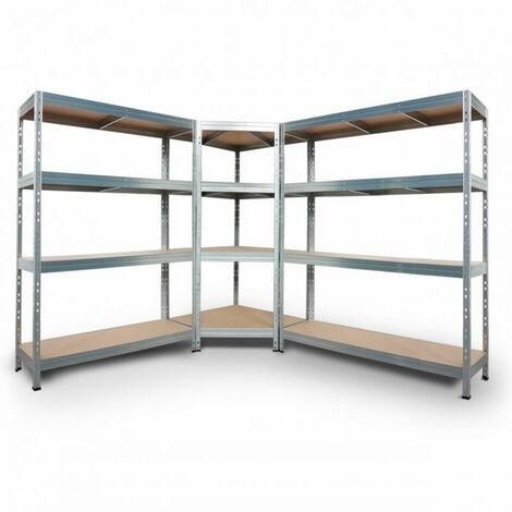 Komplettes Regalsystem, 1 Eckregal und 2 RIVET Steckregale mit den Maßen 180x90x45x64,5cm, 250kg, 180x120x45cm und 180x150x45cm 300kg, 4 HDF-Böden, verzinkt