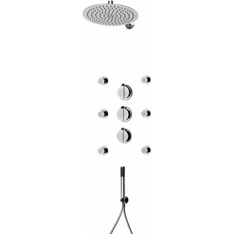 Komplettset Designer Regendusche mit Thermostatarmatur Duscharmatur - Duschsystem mit Kopfbrause, Duschthermostat, Seitendüsen und Handbrause - Unterputzarmatur
