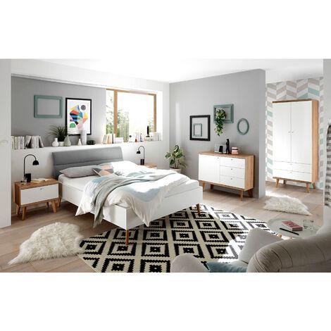 Komplettset Schlafzimmer Jugendzimmer MAINZ-61 in Eiche Riviera, weiß matt und grau, skandinavisches Design