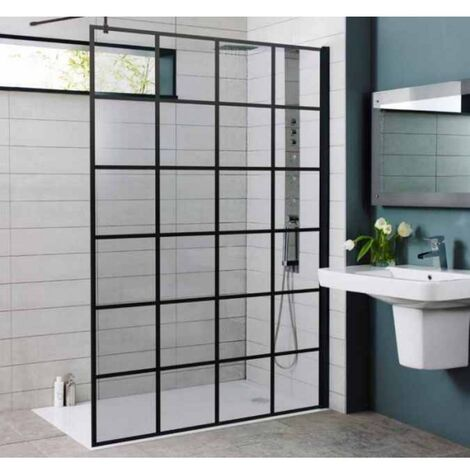 Koncept Wet Room Screen inc. Support Bar Black - 700 mm