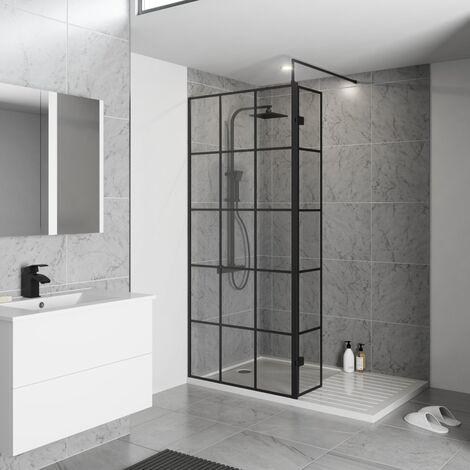Koncept Wet Room Screen inc. Support Bar Black - 700 mm