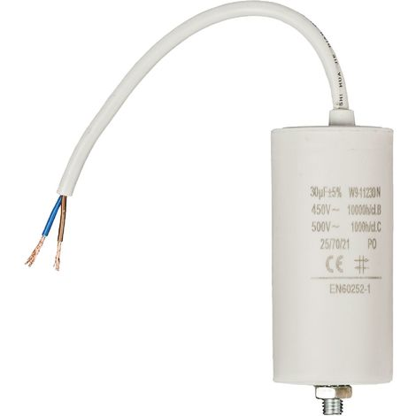 Kondensator Motorkondensator Anlaufkondensator Arbeitskondensator mit Kabel 450V 30.0 µF / 30 uF
