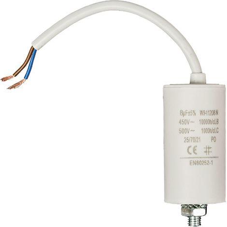 Kondensator Motorkondensator Anlaufkondensator Arbeitskondensator mit Kabel 450V 8.0 µF / 8 uF