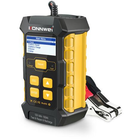 KONNWEI KW510 coche 12V 5A probador de la bateria de plomo acido de la bateria del cargador de Mantenedor con los anillos Pinzas de cocodrilo de carga rapida Multi Idiomas (enchufe de la UE)
