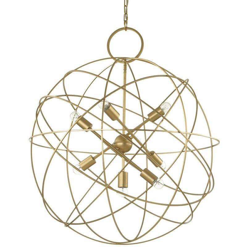01-ideal Lux - KONSE Golden Pendelleuchte 7 Glühbirnen