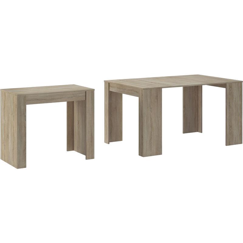 Konsoletisch, Esstisch ausziehbar bis 140 cm, Esszimmertisch und Wohnzimmertisch, rechteckig, Melaminharzbeschichtung Eiche, Maße geschlossen: