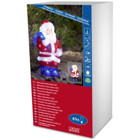 KONSTSMIDE 6153-203 PÈRE-NOËL ACRYLIQUE 48 LED BLANC + CÂBLE TRANSPARENT 24 V