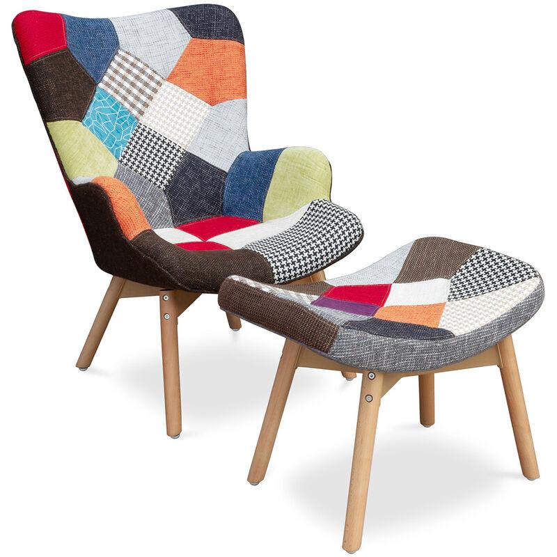 Kontor Sessel und Fußbank Patchwork Axe - skandinavisches Design Multicolor - PRIVATEFLOOR