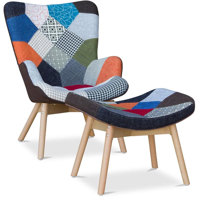 Kontor Sessel und Fußbank Patchwork Trix - skandinavisches Design Multicolor - PRIVATEFLOOR